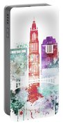 Watercolor Skyline Of Columbus, Ohio Portable Battery Charger