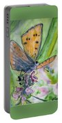 Watercolor - Small Butterfly On A Flower Portable Battery Charger