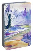 Watercolor - Stream And Forest Portable Battery Charger