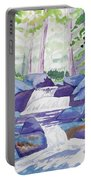 Watercolor - Summer Mountain Forest And Stream Portable Battery Charger