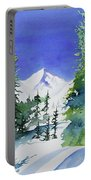 Watercolor - Sunny Winter Day In The Mountains Portable Battery Charger by Cascade Colors