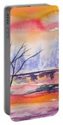 Watercolor - Sunrise At The Pond Portable Battery Charger