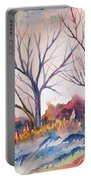 Watercolor - Trees And Woodland Meadow Portable Battery Charger