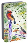 Watercolor - Vermilion Flycatcher Pair In Quito Portable Battery Charger