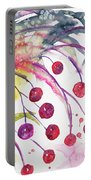Watercolor - Winter Berry Abstract Portable Battery Charger