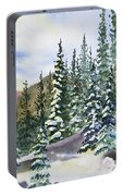 Watercolor - Winter Snow-covered Landscape Portable Battery Charger