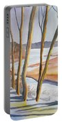 Watercolor - Winter Sunrise Portable Battery Charger