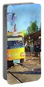 Watercolour Painting Of A Tram In Germany Portable Battery Charger