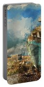 Watercolour Painting Of Abandoned Fishing Boat On Beach Landscap Portable Battery Charger
