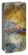 Watercolour Painting Of Low View Through Rialto Bridge Along Gra Portable Battery Charger