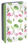 Watercolour Tropical Beauty Flamingo Family Portable Battery Charger