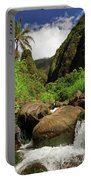 Waterfall At The Iao Needle Portable Battery Charger