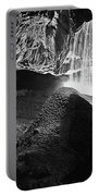 Waterfall Of The Caverns Black And White Portable Battery Charger