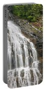 Waterfall With Green Leaves Portable Battery Charger