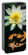 Waterlily And Koi Pond Portable Battery Charger