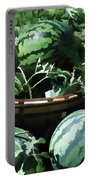 Watermelon In A Vegetable Garden Portable Battery Charger by Lanjee Chee