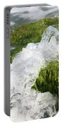 Wave Splash On The Green Rock Portable Battery Charger