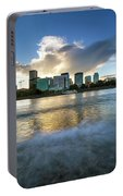 Waves Along Willamette River In Portland Oregon Portable Battery Charger