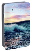 Waves Crashing At Sunset Portable Battery Charger