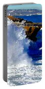 Waves Crashing On The Rocks Portable Battery Charger