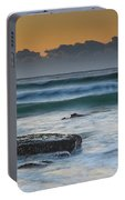 Waves Rolling In At Sunrise Portable Battery Charger