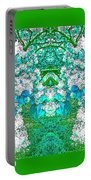 Waxleaf Privet Blooms In Aqua Hue Abstract With Green Frame Portable Battery Charger