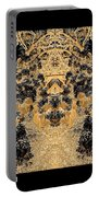 Waxleaf Privet Blooms In Black And White - Color Invert With Golden Tones Abstract Portable Battery Charger