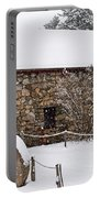 Wayside Inn Grist Mill Covered In Snow Millstone Portable Battery Charger