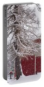 Wayside Inn Red Barn Covered In Snow Storm Reflection Portable Battery Charger
