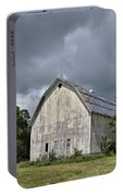 Weathered Barn And Silo Under A Cloudy Sky Portable Battery Charger