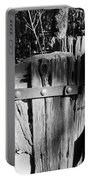 Weathered Fence In Black And White Portable Battery Charger