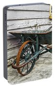 Weathered Green Wheelbarrow Portable Battery Charger