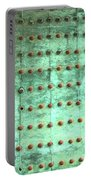 Weathered Metal Rivets With Green Patina Portable Battery Charger