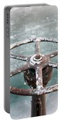 Weathered Metal Valve On Ice Portable Battery Charger