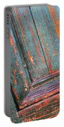 Weathered Orange And Turquoise Door Portable Battery Charger