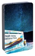 Welcome Sign To Death Valley National Park California At Night Portable Battery Charger