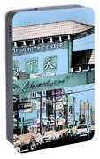 Welcome To Chinatown Sign Blue Portable Battery Charger by Marianne Dow