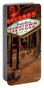 R.i.p. Welcome To Downtown Las Vegas Sign At Night Portable Battery Charger