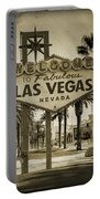 Welcome To Las Vegas Series Sepia Grunge Portable Battery Charger