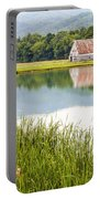 West Virginia Barn Reflected In Pond   Portable Battery Charger