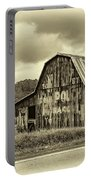 West Virginia Barn Sepia Portable Battery Charger