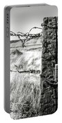 Western Barbed Wire Fence Black And White Portable Battery Charger
