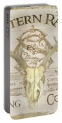 Western Range 3 Old West Deer Skull Wooden Sign Trading Company Portable Battery Charger