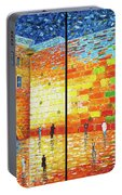 Western Wall Jerusalem Wailing Wall Acrylic Painting 2 Panels Portable Battery Charger