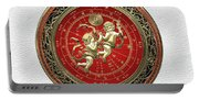 Western Zodiac - Golden Gemini - The Twins On White Leather Portable Battery Charger