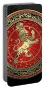 Western Zodiac - Golden Leo - The Lion On Black Velvet Portable Battery Charger