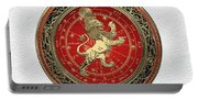 Western Zodiac - Golden Leo - The Lion On White Leather Portable Battery Charger