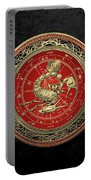 Western Zodiac - Golden Scorpio - The Scorpion On Black Velvet Portable Battery Charger