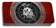 Western Zodiac - Silver Taurus - The Bull On Red Velvet Portable Battery Charger