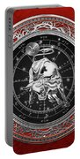 Western Zodiac - Silver Taurus - The Bull On Red Velvet Portable Battery Charger